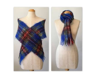 Vintage 60s Tartan Mohair Scarf made in Scotland