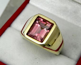 AAAA Pink Tourmaline 10x8mm  3.61 Carats   Heavy 14K Yellow gold Emerald cut Mans  ring 15-16 grams 1775