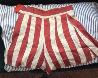 VINTAGE SHORTS PANTS, stripe, high waist, hot pants, mini shorts, cheerleader, festival, home made, marching, burning man