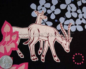 GRASSLANDS GIRAFFE Elephant Antelope Black Echino Cotton Linen Japanese Import Medium Weight Fabric Japan Orchid Turq Coral Blue YARD