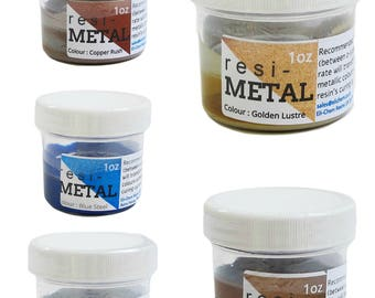 Resi-Metals metallic pigments - add a metal look to your resin painting, jewelry and crafts - 5 beautiful colors - 1 ounce jar