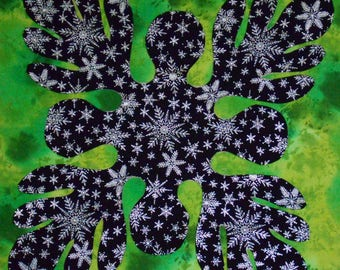 Home Decor-Pillow tops - Hawaiian design with holographic snowflake material