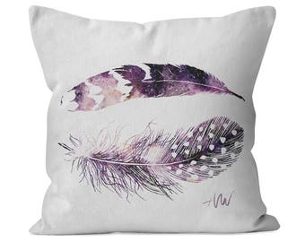 Watercolor Feathers boho cotton twill decorative throw pillow - custom made for home decor, nursery, kids room or a housewarming gift