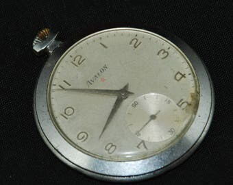 Gorgeous Vintage Antique Pocket Watch Movement dial face Steampunk Altered Art QR 68