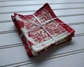 Set of 4 Quilted Coasters - Red & White Patchwork