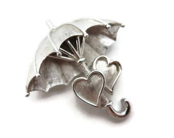 Trifari Brooch - Vintage Silver Tone Umbrella Two Hearts Costume Jewelry