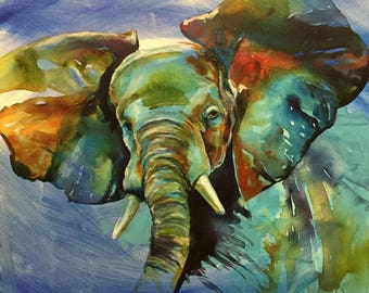 20 x 20 Original Painting - Blue Elephant