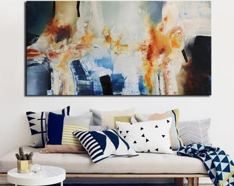 Abstract Panoramic Original Painting, Blue Yellow Abstract, Orange Blue  Painting, Long Wall Large Part 57