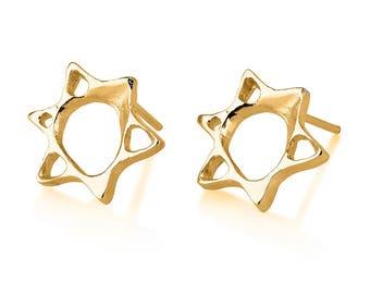 Gold Star 0f David Earrings , Star of David Stud Earrings ,14K gold David's Star , Tiny  David's Star Earrings
