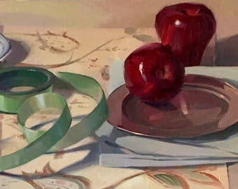 """Art painting original oil on canvas by Sarah Sedwick """"Green Loops"""" 10x20"""""""