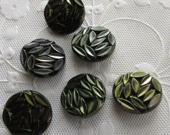 6 Vintage 1970s Czech Glass Buttons Handmade Black And Greenish Glass Czechoslovakia  B71