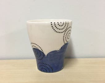handmade porcelain juice cup: Dot Dot Circle cup by Meredith Host, Blue, cocktail cup, small cup, gift for sister, polka dots, gift for mom