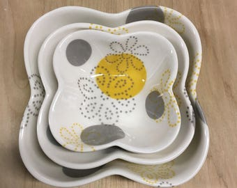 Dot Dot Floral: Scallop Stacking Dish Set of 3 handmade by Meredith Host, grey and yellow, small gift, dish set, porcelain, polka dots