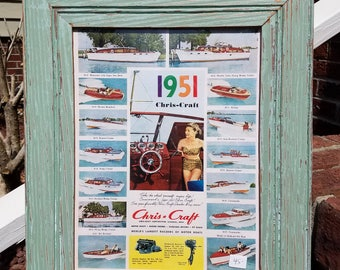 1951 CHRIS CRAFT boat ad in salvaged green wood picture frame