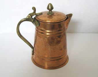 Vintage Solid Copper Brass Coffee Pot Hand Hammered Made in Turkey
