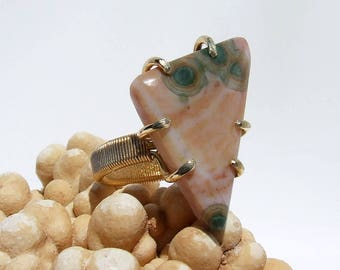 Ocean Jasper Ring, pink stone ring, natural stone ring, hand cut cabochon, prong set, modern ring