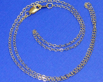"18K SOLID YELLOW GOLD Cable Chain Necklace 16"" Length"