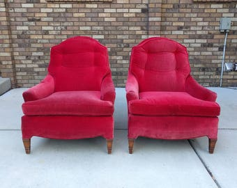 2 shabby red velvet vintage arm chairs