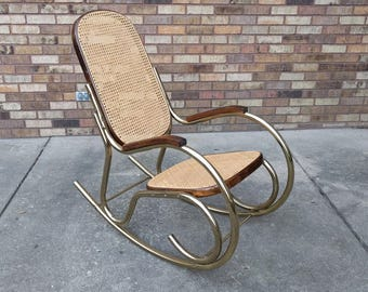mid century modern BRASS & CANE rocking chair