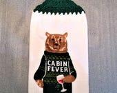 BEAR CABIN FEVER Extra Plush Crochet Towel, woodland, country cottage, bear lover gift, wine lover gift, hostess gift, stocking stuffer