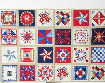 Vintage Patchwork Quilt Look Cotton Fabric Panel, Americana Panel in Red, White, Blue, Country Decor, Wall Panel,  Quilting Squares,  Sewing
