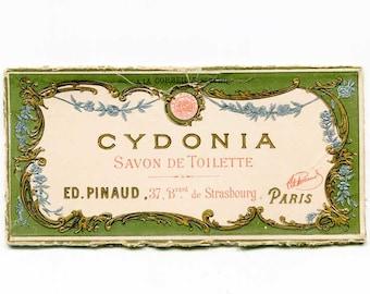 Small Antique Cydonia French Toilette Soap Box End Advertising Cardboard Sign c 1910, Soap Advertisement, Bath Decor, Original Sign Card