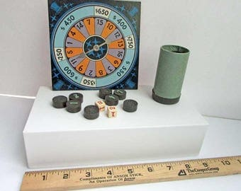 Lot of Vintage 1930's Game Pieces, Game Parts, Spinner, Dice, Dice Cup, Wooden Number Tiles, DIY Game Pieces, Creative Gaming