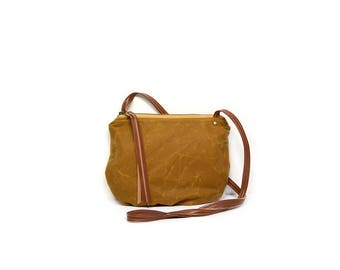 date purse  • crossbody bag - waxed canvas • bourbon brown waxed canvas - gifts under 50 - simple cross body bag