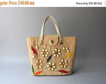 STOREWIDE SALE 1950s Purse / Vintage 50s Golden Straw Beach Tote / 1950s 1960s Flower and Shells Purse