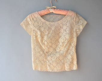 Vintage Blouse / 1960s Nude Lace Blouse / 1950s Sheer Nude Lace Top XS small