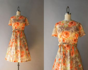 1960s Dress / Vintage Early 60s Sheer Floral Day Dress / 1960s Fall Floral Pleated Dress S small
