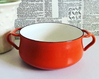 Dansk kobenstyle red enamel two handled pot