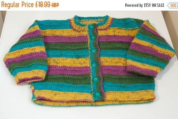 Christmas In July Handknitted Boys/Girls Cardigan in Striped Design to fit 5 Year Old.