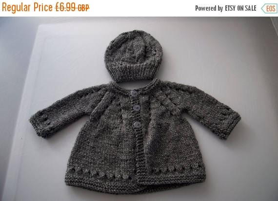 Christmas In July Handknitted Baby Cardigan and Hat for 3 month old child.