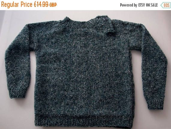 Christmas In July Handknitted Boys Jumper with Placket for 2 Year Old.