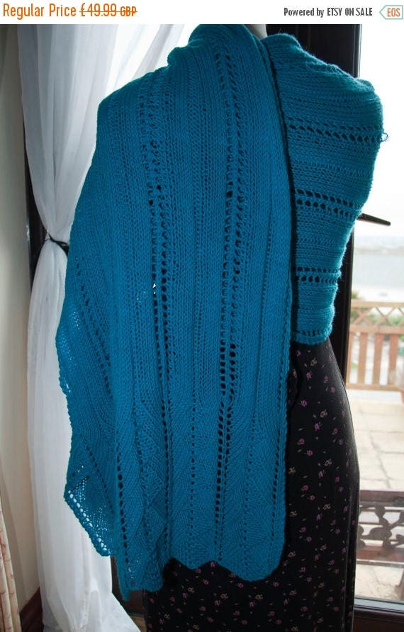 Christmas In July Handknitted Shawl/Wrap in Turquoise Merino Wool