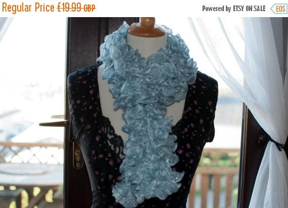 Christmas In July Handknitted Ruffles Scarf in Pale Blue