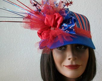 Patriotic Striped 4th of July Baseball Cap, Red, White and Blue, Rhinestones, Star Sprays, Glitter Netting