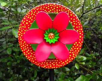 "Glass Plate Flower garden Art Hand Painted Green Red and Yellow Dots 8.5"" diameter"