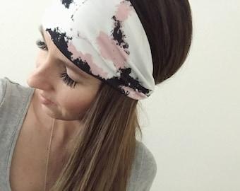 Turban, Black Head Wrap, Stretch Knit, Athletic Headwrap, Athletic Headband, Black Turban, Women's Headband, Boho Wrap, Hippie Hair, Womens