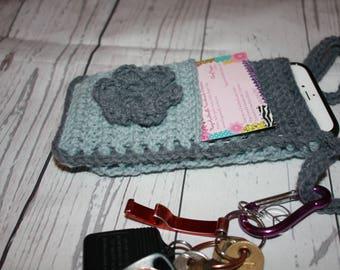 Crochet Cell phone holder, cross body bag, smart phone cross body holder, cell phone purse, cross body cell phone bag