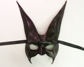 """Black Rabbit Leather Mask 11 3/4"""" tall extra long ears a little spooky but also elegant for more formal events"""