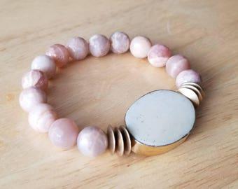sunstone bracelet, beaded bracelet for women, boho jewelry, mothers day gift mom gifts from daughter, bone bracelet, birthday gift for