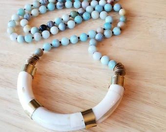 Horn necklace, long beaded necklace, boho jewelry, mothers day gift mom gifts from daughter, crescent horn necklace, statement necklace
