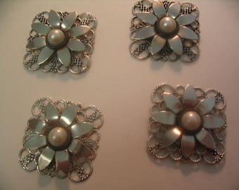 4 Filigree Layered Flower Embellishments Findings Scrapbook Jewelry Craft Supplies