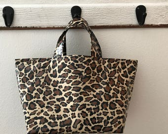 Beth's Animal Print Oilcloth Basket Style Market Tote Bag
