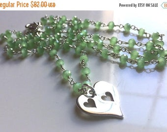 QUICKIE SALE 15% OFF, Double Heart Apple Green Chalcedony Charm Necklace , Heart Charm Necklace, sister gift, mother daughter gift