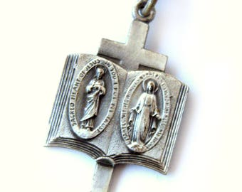 Catholic Silver Scapular & Miraculous Medal /  Sacred Heart Of Jesus / Our Lady Of Mount Carmel Immaculate Mary / Religious Jewelry / Bible