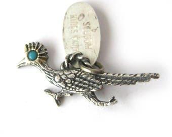 Vintage Sterling Silver Roadrunner Charm / Sequoia Kings Canyon Souvenir Roadrunner with Turquoise Eye / Charm Bracelet / Travel Souvenir
