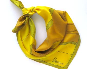 Vintage VERA Neumann Ladybug Logo Scarf / Large Geometric Design Scarf  in Gold, Yellow and Green / Rolled Hem / Gift for Her / Silk Scarf